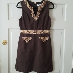 Milly brown cap sleeve dress w snake leather trim